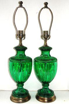 Carlos de la Puente Antiques » Pair of Emerald Green Glass Lamps