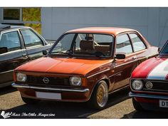 Kadett C with c20xe. Lowered 60/60 sitting on Japanracing 7/8x15. Notice the chrome trim and the mirror