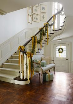Festive Holiday Staircases and Entryways | Traditional Home