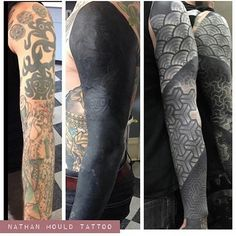 """619 Likes, 12 Comments -  Kind o' cool stuffs  (@kind_o_cool_stuffs) on Instagram: """"White ink over heavy blackwork by amazing artist @nathanmouldtattoo who is capable to do this ...…"""""""