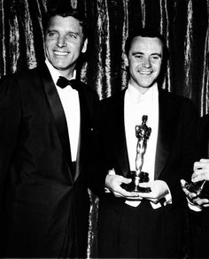 """Burt Lancaster and Jack Lemmon (Best Supporting Actor for """"Mister Roberts""""), 1955"""