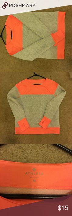 Athleta sweater Bright orange and grey athleta sweater. Only used a few times. Athleta Sweaters