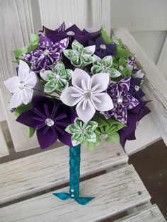 Custom Paper Flower Bridal Bouquet and Boutonniere by PoshStudios