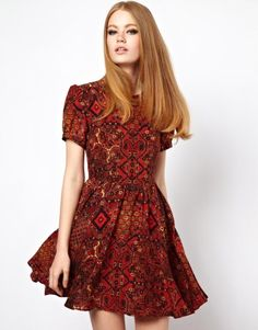 H O U S E of H A C K N E Y | HOUSE OF HACKNEY Silk Day Dress in Carpet Print at ASOS