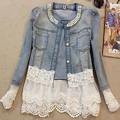 New Women's Round Collar Pearl Lace Patchwork Long-Sleeve Denim Short Slim Jacket – USD $ 31.79