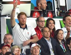 Prince William, Kate, the Duchess of Cambridge and Prince Harry at the Rugby World Cup match between England and Wales