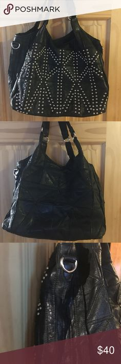 Ameri Leather Handbag Black leather & studded hobo. In good condition with some wear on bag. Comes with a dustbag. Ameri leather Bags Hobos