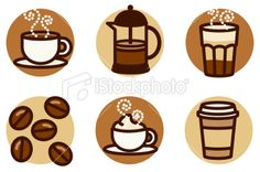 food icons: coffee Royalty Free Stock Vector Art Illustration