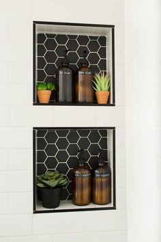 Alameda Black 2 Matte Hexagon Mosaics Paired with Snow White Gloss Ceramic Subway Tiles Bathroom Tile Designs, Bathroom Interior Design, Interior Decorating, Hexagon Tile Bathroom, Eclectic Bathroom, Bathroom Subway Tiles, Black Hexagon Tile, Black Subway Tiles, Hex Tile