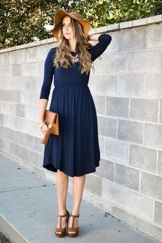 Kaley Fit and Flare Dress In Navy