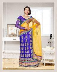#Ink blue and yellow colour net and inner brocade  material #designer #lehenga choli