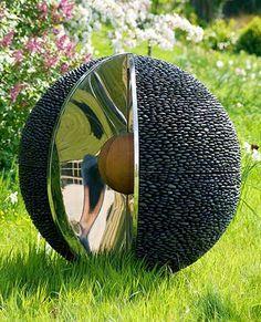 Garden Sphere Sculpture: Black Stone Outdoor Spheres with Stainless Steel