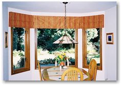 Roman valances in a bay window setting.