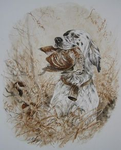 Dominique Pizon Hunting Painting, Hunting Art, Hunting Dogs, Hunting Drawings, Grouse Hunting, Dog Paintings, Hound Dog, Sports Art, Watercolor Animals