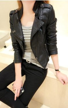 Ptyhk RG Womens Faux Leather PU Splice Contrast Color Mid Jacket Coat