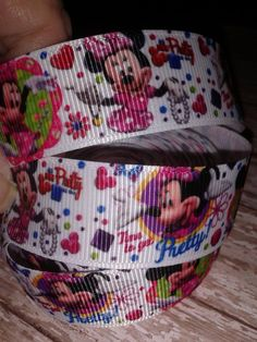Time to Get Pretty Minnie Mouse Grosgrain Ribbon by RibbonstoBowsandMore on Etsy