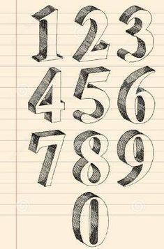 Dibujar En 3d Numeros Fontes De Letra De Mao Letras Rabiscadas Letras De Mao Do Alfabeto