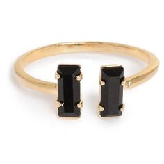 Double Baguette Ring Jet Black Crystal ($78) ❤ liked on Polyvore featuring jewelry, rings, crystal jewellery, crystal stone jewelry, stackable rings, sparkle jewelry and crystal stone rings