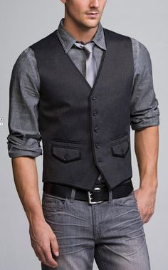 Herringbone Cotton Vest in Gray. Sharp 5 Button AsEstilo Store: