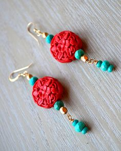 Boho Cinnabar with Gold and Turquoise by uniquebeadingbyme on Etsy #turquoise #cinnabar #boho #bohemian