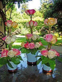 I would use different flowers, but neat idea Valentine Flower Arrangements, Beautiful Flower Arrangements, Beautiful Flowers, Rosen Arrangements, Floral Arrangements, Deco Floral, Arte Floral, Floral Design, Floral Centerpieces