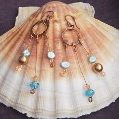 Copper Dangle Earrings With Swarovski Crystals And Fresh Water Pearls In Blue And Peach