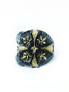 GOLD CROSS BAROQUE RING  by PAKIN on Guruwan.com | 925 Sterling Silver Black Rhodium Black Spinel 24K Gold Paint By Hand