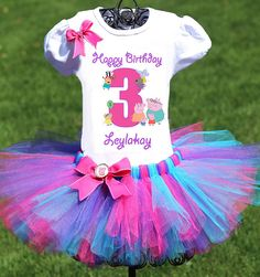 Peppa Pig Birthday Outfit, FAST SHIPPING, Birthday Outfit, Pink Blue Purple Tutu on Etsy, $54.86 AUD