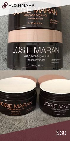 Josie Maran Whipped Argan Oil (2) Josie Maran Whipped Argan Oil Body Butter. Each is 4 oz. BRAND NEW NEVER OPENED. Scents: 1 vanilla apricot and 1 french lavender Josie Maran Makeup
