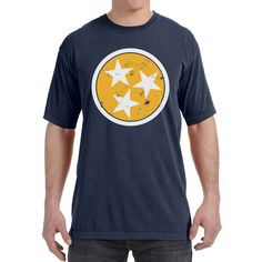 Adult Distressed Yellow Tri Star on a Navy Blue T-Shirt