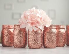 Glitter & Painted Mason Jar Centerpieces & by SprinkledandPainted Rose Gold Centerpiece, Rose Gold Vase, Gold Wedding Centerpieces, Rose Gold Ombre, Rose Gold Decor, Bridal Shower Centerpieces, Mason Jar Centerpieces, Rose Gold Glitter, Gold Vases
