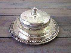 Vintage Silver Plate Covered Dish Round Tray Butter by 22BayRoad, $24.00