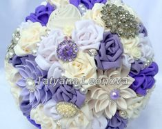 Wedding Bouquet Brooch bouquet dark turquoise white and