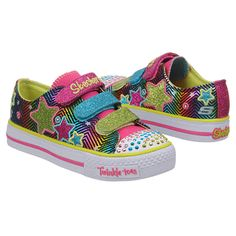 "Cali Girls by Skechers Triple Time: ""This shoe has everything – stars, bright colors, straps so your little one can put on herself quickly and it LIGHTS UP!!! The multi colors make it perfect with any outfit she is wearing."" – Kristin"