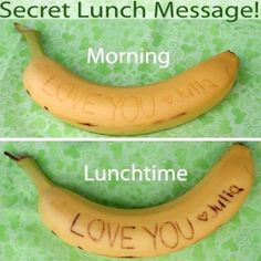 "Remind your kids how much you love them with ""secret"" banana messages. Your messages will get darker & show up in a few hours. Cute Food, Good Food, Yummy Food, School Trends, Boite A Lunch, Little Lunch, Good To Know, Kids Meals, Cool Kids"