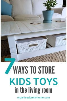 Living Room Toy Storage Ideas - Organised Pretty Home 7 ideas for organizing toys in the living room. How to have a family friendly living room that work Diy Hidden Storage Ideas, Diy Toy Storage, Kids Storage, Book Storage, Storage Solutions, Living Room Toy Storage, Living Room Decor Tips, Living Room Designs, Kitchen Storage