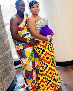 See How Ghanaian Couples Are Rocking This Iconic Super Luxe Big Day Looks in Kente - Wedding Digest Naija Robe Kente, Kente Dress, African Attire, African Dress, African Outfits, African Clothes, African Style, African Men Fashion, African Women