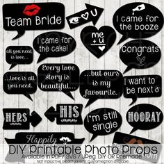 Ideas for wedding photos booth props Diy Wedding Photo Booth, Wedding Photo Booth Props, Photo Booth Sign Ideas, Bachelorette Photo Booth, Diy Fotokabine, Chalkboard Party, Chalkboard Signs, Chalkboard Printable, Photobooth Props Printable