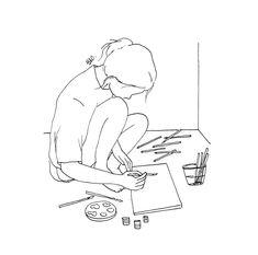 Minimal Drawings, Art Drawings Sketches Simple, Pencil Art Drawings, Cute Drawings, Line Drawing Art, Outline Art, Outline Drawings, Doodle Art, Minimalist Drawing