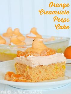 Orange Creamsicle Peeps Cake tastes just like the frozen treat and makes a fun Easter dessert Creamsicle Cake, Orange Creamsicle, Easy Cake Recipes, Easy Desserts, Yummy Recipes, Pudding Recipes, Amazing Recipes, Cookie Recipes, Dessert Recipes