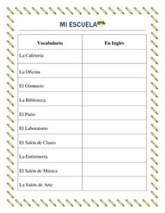 Spanish Parts of the School- Vocabuary List -La Escuela from mherterma from mherterma on TeachersNotebook.com (2 pages)  - These worksheets are an awesome tool to introduce students from third grade to High school to the parts of the school vocabulary. Students will be able to describe different parts of the school.