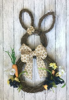 DIY Bunny Wreath - Rustic Burlap Wreath - Easter Bunny Wreath - Bunny Wreath - Craft Kit - Burlap Bunny Wreath - Create Your Own DIY Wreath - Wreath Tutorial Wreath Crafts, Diy Wreath, Burlap Wreath, Spring Projects, Spring Crafts, Diy Ostern, Deco Floral, Egg Decorating, Easter Wreaths