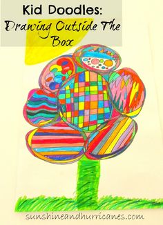 "Need a fun and super simple activity to keep the kids from uttering the dreaded, ""I'm bored""? Grab some paper & markers and you'll have hours of fun at your fingertips with these creative ideas!  Continuous line drawing can produce awesome Kid Doodles: Drawing Outside The Box"