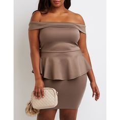 Charlotte Russe Off-The-Shoulder Peplum Dress ($30) ❤ liked on Polyvore featuring plus size women's fashion, plus size clothing, plus size dresses, deep taupe, sexy dresses, party dresses, off the shoulder dress, cocktail party dress and plus size off the shoulder dress