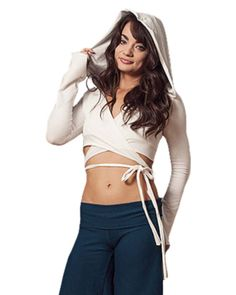 A comfortable, cute and adjustable wrap top. This top comes has long sleeve and a hood. Double layered in front for extra coverage. Fabric: Fabric options include: cotton spandex, cotton french terry,