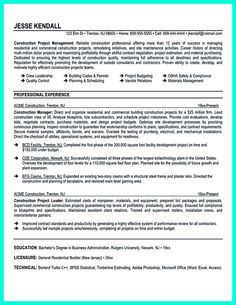 construction manager resume page 1 resume writing tips for all occupations pinterest. Black Bedroom Furniture Sets. Home Design Ideas