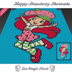 Happy Strawberry Shortcake crochet blanket pattern; knitting, cross stitch graph; pdf download; no written counts or row-by-row instructions by TwoMagicPixels, $2.84 USD
