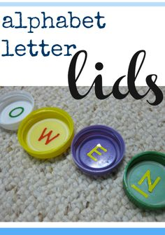 alphabet letter lids | use recyclables for ABC learning #weteach
