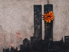 Banksy in NYC Day Twin Towers Tribute in Tribeca. The latest Banksy is in Tribeca and is a touching tribute to the original Twin Towers at the World Trade Center. I want this on my hip flower and all. Graffiti Art, Street Art Banksy, World Trade Center, Tribeca New York, Banksy New York, Twin Towers Memorial, New York City, Banksy Artwork, Pop Art