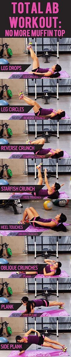 will show you some of the best ab exercises for toning and slimming your waist and abs to banish that muffin top for good.workout will show you some of the best ab exercises for toning and slimming your waist and abs to banish that muffin top for good. Total Ab Workout, Total Abs, 15 Minute Workout, Total Body, Fitness Workouts, Fitness Motivation, Fitness Weightloss, Ab Workouts, Exercise Motivation